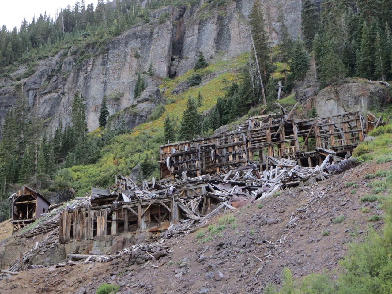 Day 4 (357 miles): Outside of Ouray on the way to Yankee Boy and Governor's Basins, this old mine is slowly decomposing