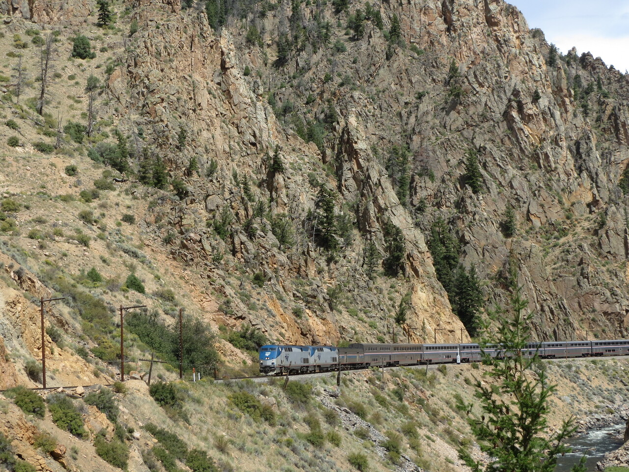 Day 3 (363 miles):  I love trains.  So here we are, blasting along the Colorado River, and this Amtrak train roars through the canyon, whistle wailing, and the clicking of the wheels echoing up and off the rocks.  It got me a little hard, I have to admit.