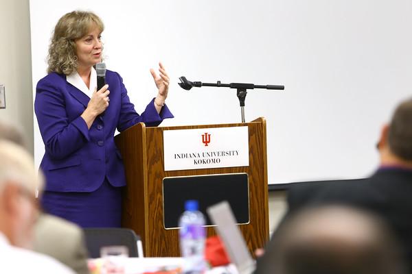 9-5-14 Glenda Ritz, Superintendent of Public Instruction for Indiana, talking to school leaders at an IUK luncheon. Tim Bath   Kokomo Tribune