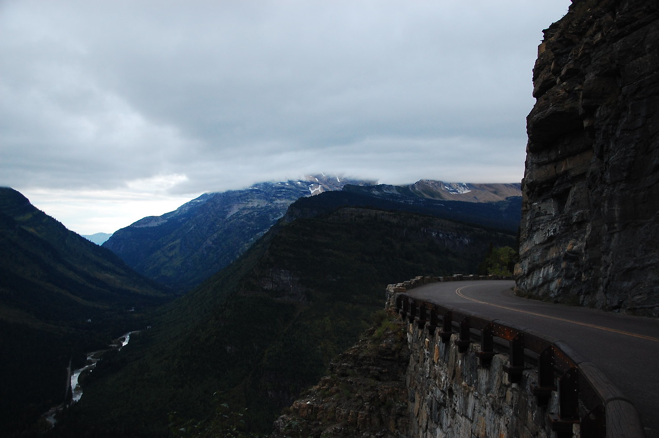 Going to the Sun Road is basically chiseled into the side of the mountain.  Still rainy but clearing up.