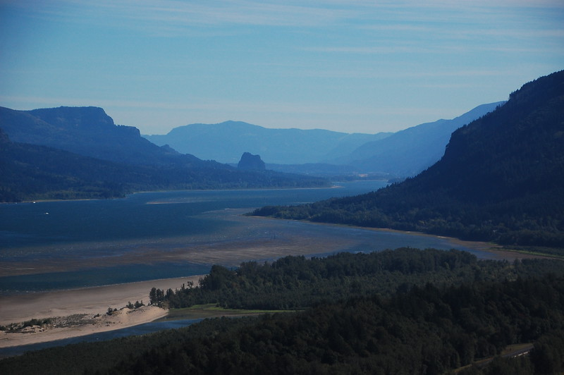 Looking east along the Columbia River Gorge from the Vista House.