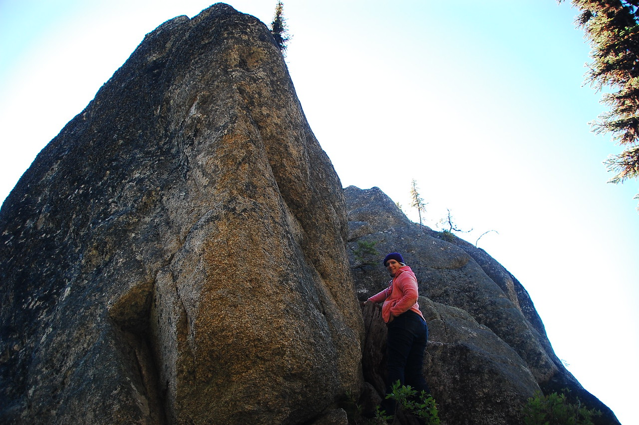 Meredith explores Devil's Chair, a rock outcropping on the Lolo.