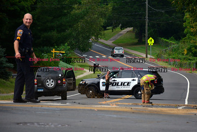 9/1/2016 Mike Orazzi | Staff  The scene of a three car crash at the intersection of Perkins and James P. Casey Road in Bristol Thursday afternoon.