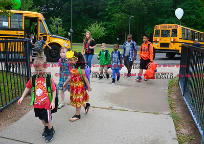 9/1/2016 Mike Orazzi | Staff Ivy Drive School students on the first day of school Thursday.