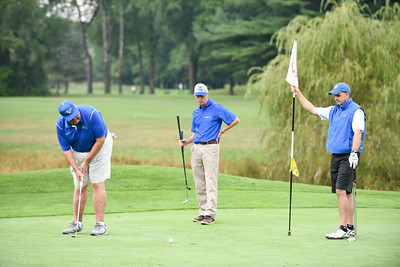 090116  Wesley Bunnell | Staff  CCSU held their annual golf outing on Thursday morning at Tunxis Plantation Country Club. Honored this year is outgoing CCSU President Jack Miller. From left President Jack Miller, Carl Lovitt and Paul Schlickmann.