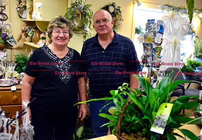 9/1/2016 Mike Orazzi | Staff Pat and Dave Allaire at Hubbard's Florist in Bristol.