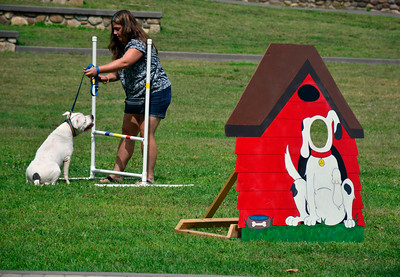9/3/2016 Mike Orazzi | Staff Kate Bennett and Rayne while in the obstacle course at the 2nd annual Bow Wow Bark in the park held in Bristol's Rockwell park on Saturday.