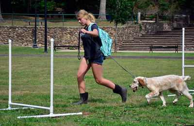 9/3/2016 Mike Orazzi | Staff Aloura Bennett and Suzie while in the obstacle course at the 2nd annual Bow Wow Bark in the park held in Bristol's Rockwell park on Saturday.