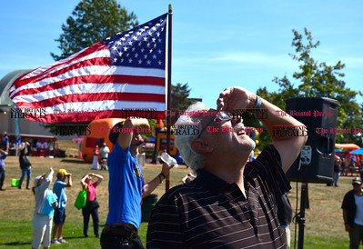 9/16/2016 Mike Orazzi   Staff Alderman at Large Daniel Salerno while watching for sky divers during Main Street USA, in New Britain's Walnut Hill Park Saturday.