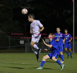 092716  Wesley Bunnell | Staff  Berlin Boys Soccer vs Southington at Sage Park on Tuesday evening. Junior Ryan Jenkins #8 goes up for a header.