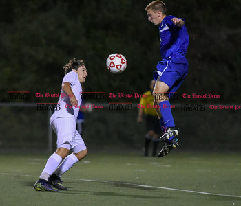 092716  Wesley Bunnell | Staff  Berlin Boys Soccer vs Southington at Sage Park on Tuesday evening. Southington's Dan Topper goes up for the ball.