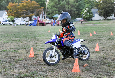 091316  Wesley Bunnell | Staff  Tyler Downey, age 5, trains in Willow Brook Park in motocross under the supervision of his father Lucius Downey. Tyler has been riding since he was 3 years old in events such as BMX.