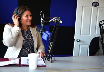 9/14/2016 Mike Orazzi | Staff New Britain Mayor Erin Stewart while on The Beat radio station in Bristol Wednesday morning.