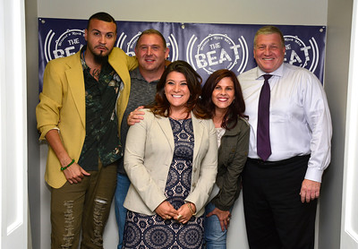9/14/2016 Mike Orazzi | Staff Bristol Mayor Ken Cockayne and New Britain Mayor Erin Stewart during a visit to The Beat radio station in Bristol Wednesday morning. Left to right, Stevey Steve, Steve Gagne, Mayor Stewart, Amy Sunshine and Mayor Cockayne.