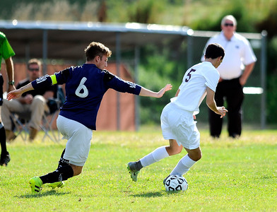 9/16/2016 Mike Orazzi | Staff Bristol Central's Max Naranjo (5) and Wethersfield's  Richard Sipala (6) during soccer in Bristol Friday afternoon.