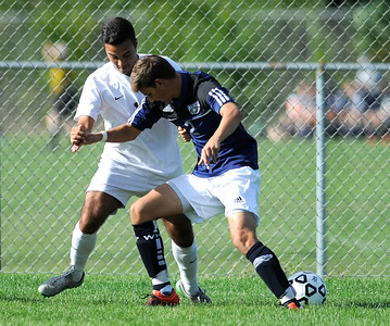 9/16/2016 Mike Orazzi | Staff Bristol Central's Facundo Ramos (10) and Wethersfield's  Chris Scacca (2) during soccer in Bristol Friday afternoon.