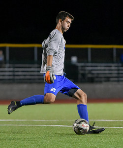 092116  Wesley Bunnell | Staff  CCSU Men's Soccer hosted Manhattan College on Wednesday evening. Junior Goalkeeper Carson D'Ambrosio #25.