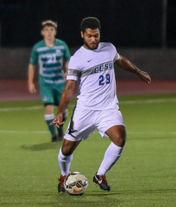092116  Wesley Bunnell | Staff  CCSU Men's Soccer hosted Manhattan College on Wednesday evening. Junior Midfielder James Thompkins #29.