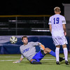 092116  Wesley Bunnell | Staff<br /> <br /> CCSU Men's Soccer hosted Manhattan College on Wednesday evening. Junior Goalkeeper Carson D'Ambrosio #25 and Sophomore Midfielder Quentin Lux #19.
