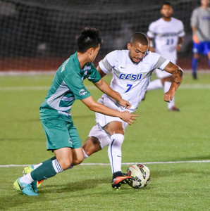 092116  Wesley Bunnell | Staff  CCSU Men's Soccer hosted Manhattan College on Wednesday evening. Senior Forward Daquan King #7.