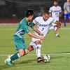 092116  Wesley Bunnell | Staff<br /> <br /> CCSU Men's Soccer hosted Manhattan College on Wednesday evening. Senior Forward Daquan King #7.