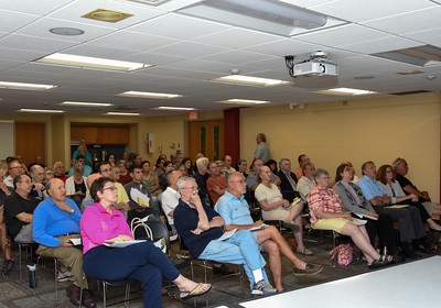 092316  Wesley Bunnell | Staff  Protect Our Watersheds CT held an informational talk on Thursday evening at the New Britain Public Library with more than 100 in attendance.  The group opposes a plan by Tilcon to mine on New Britain watershed property.