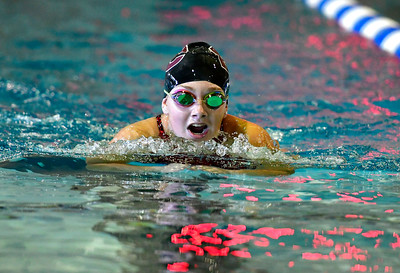 9/23/2016 Mike Orazzi | Staff Bristol Central's Rachel Wolf during a swim meet with Farmington Friday.