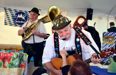 "9/24/2016 Mike Orazzi | Staff Sha-Musi's Tommy ""Tuba"" Donza and Ron Kwas during the Oktoberfest at St. Peter Church in New Britain Saturday."