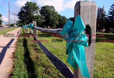 8/28/2014 Mike Orazzi | Staff A teal ribbon on the Federal Hill Green in Bristol.