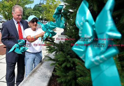 9/5/2012 Mike Orazzi | Staff Tracy-Driscoll Insurance President Brian Dehm and Judie Lodovico place a teal ribbon on an evergreen tree outside the Webster Bank on Main Street in Bristol on Wednesday afternoon.