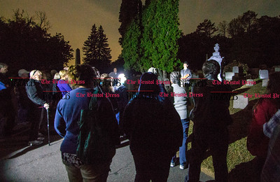 09.25.15 Amelia Parlier | Special to the Press Groups of thirty toured West Cemetery Friday night and listened to actors portray the ghosts of notable historical figures buried there.