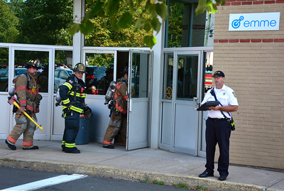 9/8/2016 Mike Orazzi | Staff Area rescue personnel on scene of a carbon possible carbon monoxide poisoning, according to police, between 30 to 40 people experienced symptoms and were taken to area hospitals from an office building on Valley Street in Bristol, Thursday.