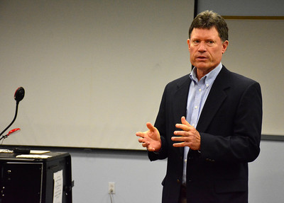 9/8/2016 Mike Orazzi | Staff State Senator John Fonfara talks with higher education officials, business owners and local leaders about how Bristol can qualify for grants under the innovation places program Tunxis at Bristol Thursday morning.