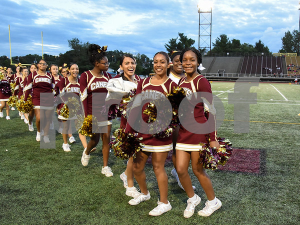 09/08/17 Wesley Bunnell | Staff New Britain High School football vs Conard at Veteran's Stadium on Friday evening. New Britain cheerleaders before the start of the game.