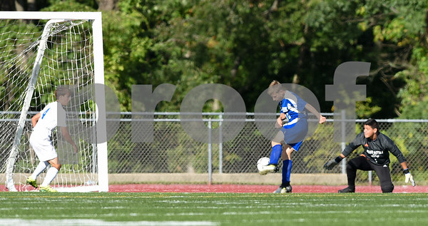 09/08/17 Wesley Bunnell | Staff Plainville Boys Soccer defeated visiting Bristol Eastern on Friday afternoon. Bristol Easterns Jake Woznicki #10 with a second half goal.