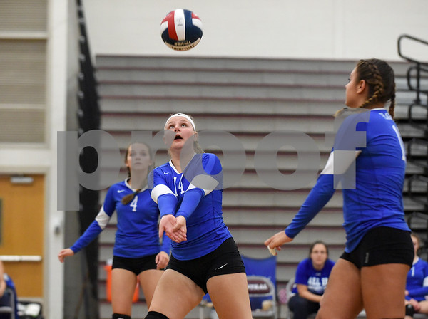 09/11/17 Wesley Bunnell | Staff Bristol Central girls volleyball vs Plainville at Bristol Central High School on Monday evening. Plainville's Desiree Wesolowski (14).
