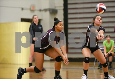 09/11/17  Wesley Bunnell | Staff  Bristol Central girls volleyball vs Plainville at Bristol Central High School on Monday evening.  Bristol Central's Xia'ian Carrasco (13), L, and Amanda St. Pierre (2).
