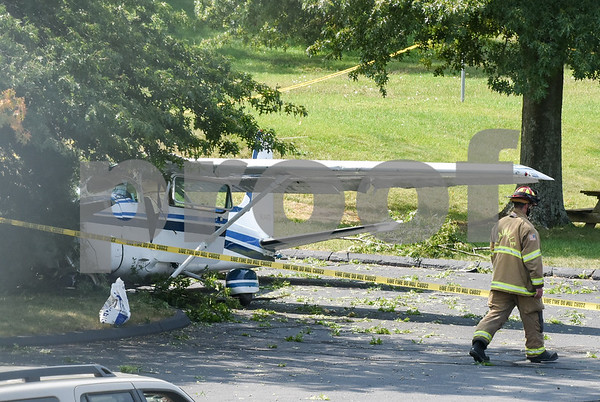 09/11/17 Wesley Bunnell | Staff A small plane crashed Monday morning near Robertson Airport in the parking lot of Carling Technologies at 60 Johnson Ave in Plainville.