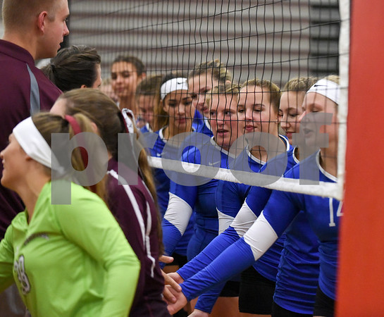09/11/17 Wesley Bunnell | Staff Bristol Central girls volleyball vs Plainville at Bristol Central High School on Monday evening. Plainville players led by Desiree Wesolowski (14) congratulate Bristol Central on the win.