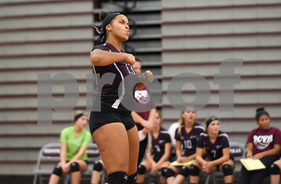 09/11/17  Wesley Bunnell | Staff  Bristol Central girls volleyball vs Plainville at Bristol Central High School on Monday evening. Bristol Central's Xia'ian Carrasco (13) reacts.