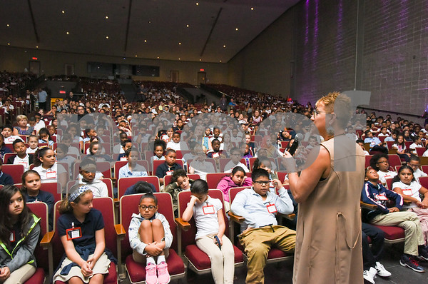 09/02/17 Wesley Bunnell | Staff New Britain Superintendent of Schools Nancy Sarra speaks to a city wide class of fourth grade students during the annual student convocation at New Britain High School on Tuesday afternoon.