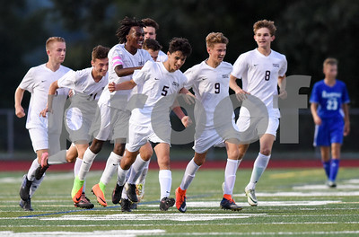 09/12/17  Wesley Bunnell   Staff  Bristol Central boys soccer vs Plainville at Bristol Central High School on Tuesday evening. Bristol Central teammates congratulate Diego Naranjo (5) after he put them ahead 2-1 at 6:40 in the second half.