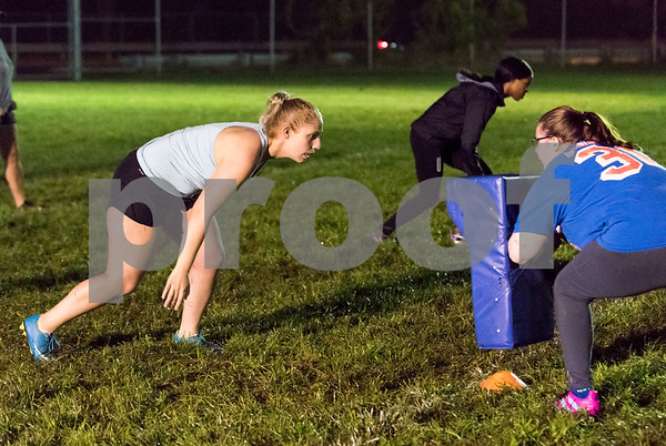 09/06/17 Wesley Bunnell | Staff CCSU women's rugby held their first practice on Wednesday September 6 after an almost 10 year absence. Junior Lexie Cousino lines up opposite Martha Smith during practice.