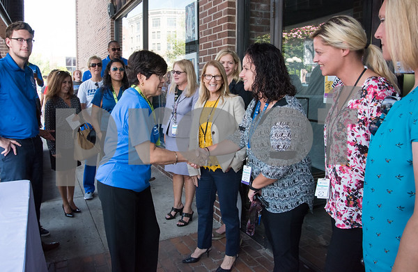 09/13/17 Wesley Bunnell   Staff CCSU students and faculty including President Dr. Zulma Toro toured downtown New Britain Wednesday afternoon on a listening tour with local business on their views of CCSU's interactions with the city. CCSU President Dr. Zulma Toro speaks with CMHA staff outside of their new location on Main St.