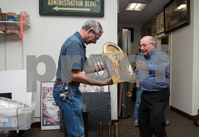 09/13/17  Wesley Bunnell | Staff  The New Britain Industrial Museum is moving the last of its collection to its new location on West Main St. Volunteer at the American Clock and Watch Bruce Thorin, L, holds the movement from a grandfather clock ready to be moved along with help from fellow museum volunteer Mel Brown.