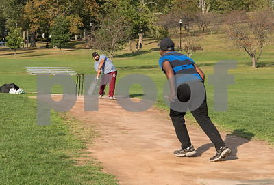 09/15/17  Wesley Bunnell | Staff  Bowler Asgi Anis practices with Hakeem Mohamed on Friday evening at Walnut Hill Park in preparation for a day of matches Saturday Sep 16.
