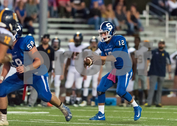 09/15/17 Wesley Bunnell | Staff Southington vs Simsbury on Friday evening at Southing High School. QB William Barmore (12).