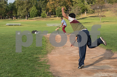 09/15/17  Wesley Bunnell | Staff  Bowler Tuwan Thajudeen practices with Hakeem Mohamed on Friday evening at Walnut Hill Park in preparation for a day of matches Saturday Sep 16.