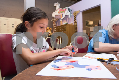 09/18/17 Wesley Bunnell | Staff  The Bristol Carousel Museum is holding Fun with Carousel Animal Drawing on Monday nights through October 16th. Gianna Botto, age 9 puts the finishing pieces on her horse.