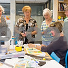 09/18/17 Wesley Bunnell | Staff<br /> <br /> Teaching artist Mary Smeallie demonstrates different watercolor techniques to students in her adult studio class at the New Britain Museum for American Art on Monday afternoon. Maggie Gammell of Simsbury, L, Pat Barnes of Southington, Margaret Rumford of Cromwell, Mary Smeallie, seated, and Diane Langlois of Middletown.